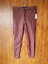 "ZARA JEANS Burgundy Red Faux Leather Patch Skinny Stretch S / UK 10 / 28"" Leg"