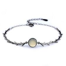 Fashion Rose Flower Thorns Black Buds Bracelet Opal Stone Bangle Women Jewelry