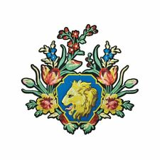 Lion Flower Crest (Iron On) Embroidery Applique Patch Sew Iron Badge