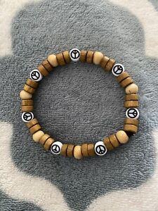 Peace Bracelet Elastic Hand Made Chuckin Rainbowz Hippy Hippie Unisex Beach ☮️