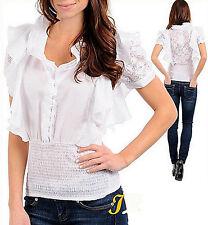 Blusa donna bianca pizzo ruches corta camicia manica corta nuova  #