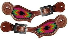 Showman LADIES Leather Spur Straps w/ HOT PINK Navajo Beaded Inlay!! NEW TACK!!