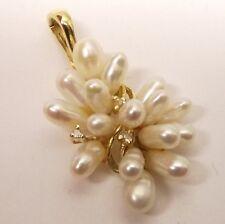 Vtg 14K Gold Rice Pearl Cluster Diamond Pendant Grape Bunch Leaf Estate