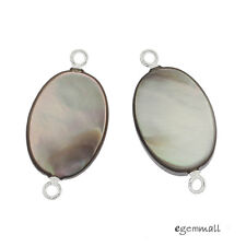 2 Sterling Silver Black Mother Of Pearl Shell Oval Connector Beads #98233