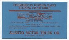 1920s Advertising Blotter for Silento Motor Truck Oil San Francisco