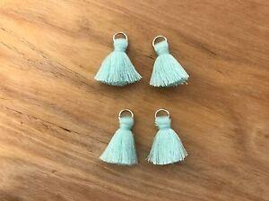 4 x Cotton Tassels 20mm 2cm - AQUA - great for earrings & accessories