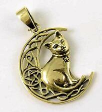**BRONZE CRESCENT MOON WITH WITCHES CAT PENDANT & WAXED CORD NECKLACE**