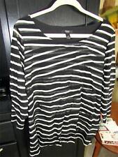 Alfani Woman Black & White Striped Top with 3/4 Sleeves | Size 3X
