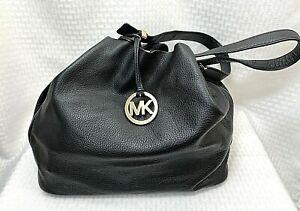 Michael Kors Black Pebbled Leather Hobo Style Bucket Shoulder Handbag