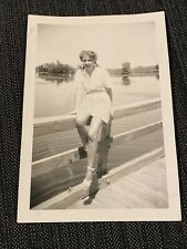 Sexy Girl Pigtails Upskirt Legs Lake Vintage 1940s B&W Photograph