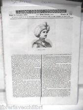 ANTICA STAMPA INCISIONE 1844 Rustan Dragone piemontese sotto Napoleone Ospizio