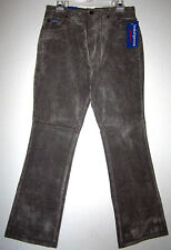 INDULGENCE JEANS Boho Punk Gray Faux Suede Leather Stretch Denim Pant 11/12 NWT