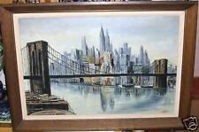 NEW YORK CITY BROOKLYN BRIDGE OLD OIL CANVAS PAINTING