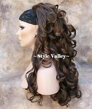 Dark Brown Mix 3/4 Fall Hair Piece Long Curly Half Wig Hairpiece STUNNING!