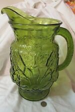 Vintage Glass Pitcher LIBBEY COUNTRY GARDENS Green Daisy Pattern