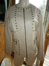 Womens Size Small Chi by Falchi Beige Tan Faux Leather Studded Jacket Zipper