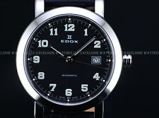 NEW Edox 40mm Mens Swiss Made ETA 2824 Automatic Black Sapphire Crystal SS Watch