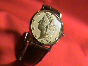 Men's Liberty 9ct Solid Gold LAFAYETTE POLO Quartz Watch, Gold Dial & Hands
