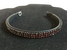 "Swarovski Red Crystal Black Leather 7 1/2"" Bracelet"