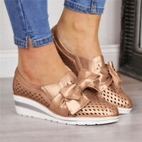Women Bowknot Slip On Platform Sneaker Wedge Loafers Comfy Breathable Shoes Size
