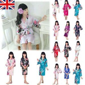 Girl Pajamas Silk Robe Flower Printed Peacock Kimono Luxurious Dress Nightwear
