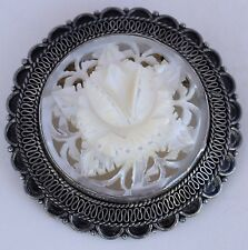 Fine carved flower Mother of Pearl 950 sterling silver large pendant pin brooch
