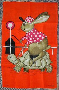 Vintage Tea Towel Irish Linen Dunmoy Cartoon Tortoise & Hare Race AS NEW