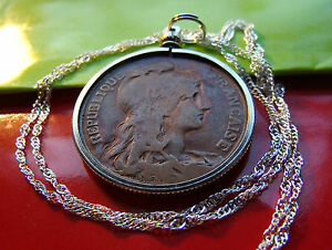 """Antique French Copper 10 Centimes Pendant on 30"""" 925 Sterling Silver Wavy Chain"""