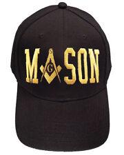 Freemason's Baseball Cap - Black Hat with Gold Masonic Text Wrap and Symbolism