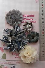 GREY & IVORY Fabric Organza Lace 5 Flower Pk 35-90mm Njoyfull Crafts H