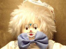 Porcelain Bean Bag Clown. Suspenders & Hat. Bunny Rabbit & Cupcake Motifs 1999