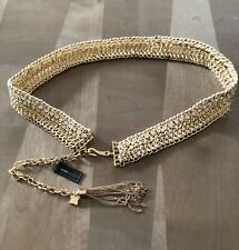 BCBG MAXAZRIA CORDED CHAIN AND STONES BELT