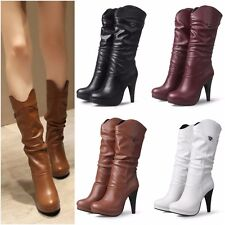 Women WaterProof High Party Heels Mid Calf Boots New Ladies Round Toe Long Shoes