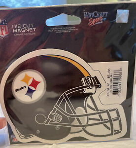 Pittsburgh Steelers Black 3 star logo type design NFL Helmet Die-cut MAGNET NIP