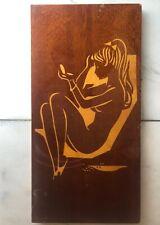 HOLZBILD original 50er 60er Jahre MID CENTURY 50s Mädchen Intarsien * 45x23 cm