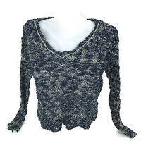Free People Women's Blue Heather Marbled V-Neck Loose Knit Pullover Sweater S