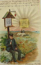"""Postbote, Sonntagsruhe, Hirte Schafe, Sonne"" 1899 ♥ (9321)"