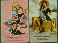 """Elvgren Pinup Art """"Welcome Traveler"""" & """"Denise"""" Black Stockings Playing Cards A+"""