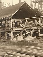 Postcard Sawmill At Tualatin With Sawyers On Break Timber Framed Great Rppc  H01