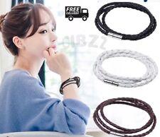 Leather Wrap Wristband Bracelet Braid Rope Unisex Jewellery Mens 3x PCS SET
