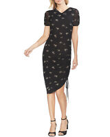 Vince Camuto Womens Desert Bouquet Ruched Midi Dress Small Rich Black