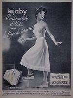PUBLICITÉ DE PRESSE 1953 LEJABY ENSEMBLE D'ÉTÉ SLIP SOUTIEN-GORGE - ADVERTISING