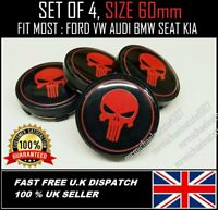 ⭐X 4 PUNISHER RED ALLOY WHEELS CENTRE CAPS 60mm FORD, SEAT, KIA, BMW,HONDA⭐