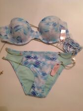 Victorias Secret Print Molded Bandeau Swim Suit String Bikini 34b XS