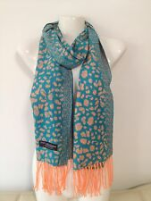 100% CASHMERE SCARF LEOPARD DESIGN TURQUOISE MADE IN SCOTLAND SUPER SOFT
