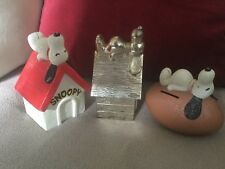 Vintage Snoopy Money Banks/Money Boxes,Metal Kennel,Lying on Ball & Football