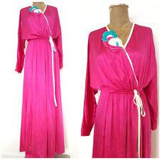 Vintage 70s Nylon Robe Size Large Dress Lounge Wear Lingerie Floral Long Jacket