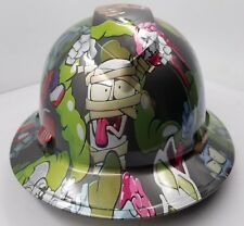 FULL BRIM Hard Hat custom hydro dipped , NEW COMIC BOOK  ZOMBIE SQUAD OSHA APRVD