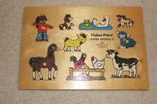 Vintage Fisher Price Wooden Puzzle Farm Animals Educational 9 pcs  #507