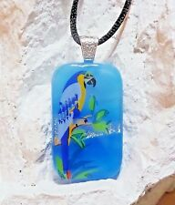 Handmade Scenic Art Dichroic Fused Glass Tropical Blue Parrot  Pendant Necklace